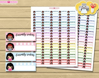 Chic Plannergirl Reading, Kawaii Printable Planner  stickers for your life planner boxes. Kawaii stickers