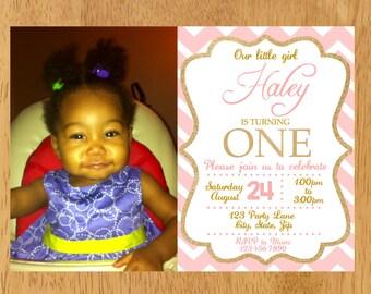 Pink and Gold First Birthday Invitation, Gold Glitter Invitation