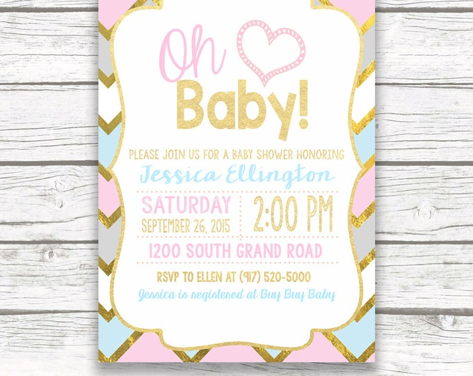 Oh Baby Pink and Blue Gold Foil Baby Shower Invitation, Chevron Gender Neutral Pastel Boy Girl Baby Shower, Printed or Printable Invite