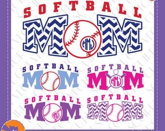 Softball Mom Monogram Frames and Art   SVG DXF EPS Cutting files