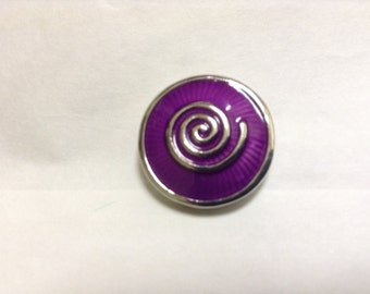 PURPLE SILVER SWIRL 20mm snap button...metal