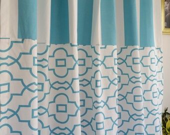 Extra long, two tone, color block, pattern block shower curtain, 72W x 96L,  light aqua, coastal blue and white cotton 500