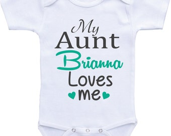 Personalized Aunt baby shirt My Aunt Loves Me Aunt Onesie for baby girl or baby boy Auntie Shirt,Aunt Baby clothes,custom aunt shirts