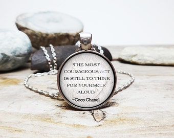 Coco Chanel quote necklace Chanel pendant Coco Chanel Necklace Think For Yourself Inspirational Wisdom Jewelry French fashion designer gift