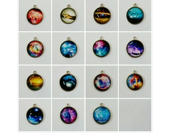 More various space image jewellery science pendant necklaces on silver plated chain (see further listings for other designs)