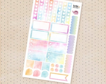 Rainbow watercolor sticker sampler set - Functional matte planner stickers