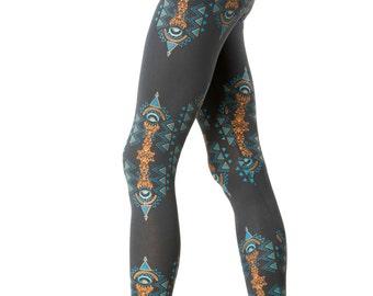 Festival Leggings-Fractals-Geometric Print-Printed Legging-Yoga leggings-Trippy-Trance clothing-EDM-Boho leggings-hippie leggings-Boho Pants