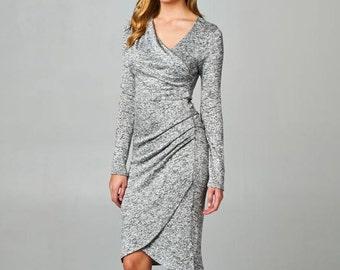 D4015 Knee Length Long Sleeve Asymmetrical Neckline Tiered Hem Wrap Body Con Dress (Made in USA)