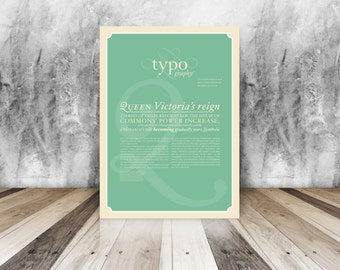 Typography Poster with text about Queen Victoria: Vintage style historical typographic print