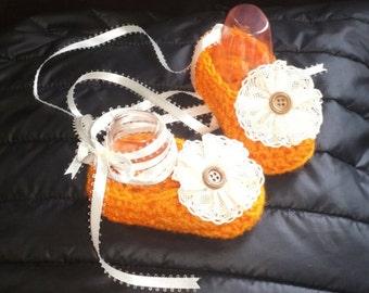 orange baby ballet slippers