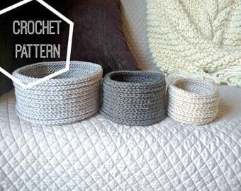 Crochet Bowl Pattern, Round Crochet Basket Pattern, Cute Crocheted Nesting Baskets, Crochet Nesting Bowl Pattern, Crochet Catch All Pattern