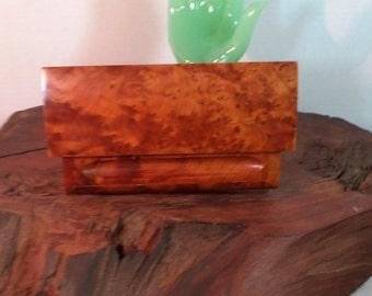 Burl Wood Desk Box, Burl Wood Dresser Valet, Burl Wood Jewelry Holder, Burl Wood Trinket Box, Burl Wood Pen Pencil Holder