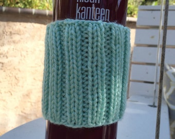 Mint Ribbed Knitted Coffee Cozy