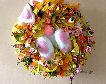 Bunny Wreath, Deco Mesh Spring Wreath, Easter Wreaths, Front Door Wreath, Spring Hanger, Flower Wreath, Easter Decoration, Easter Bunny