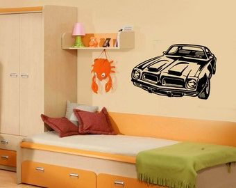 Wall Vinyl Decal Car American Muscle Vintage Sport  Auto Racing Decor for Play Room (#1025de)