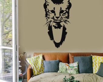 Wall Vinyl Decal Gentleman Cat in Hat Guardian of Home Pop Art Cool Abstract Modern Home Decor (#1103de)