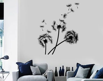 Wall Vinyl Decal Dandelions Puffball Bouquet of Flowers Blowing Seeds Flower Ornament Modern Home Decor (#1128di)