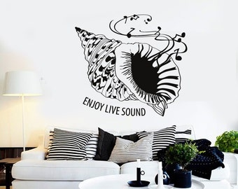 Wall Vinyl Music Seashell Sea Enjoy Sound Guaranteed Quality Decal Mural Art 1549dz