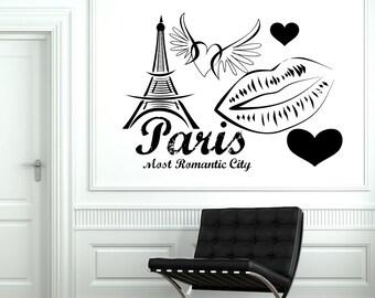 Wall Decal Paris France Eiffel Tower Heart Wing Love Romantic Vinyl Decal Sticker 1831dz