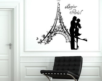 Wall Decal Paris France Kissing Couple Eiffel Tower Vinyl Decal Sticker 1841dz