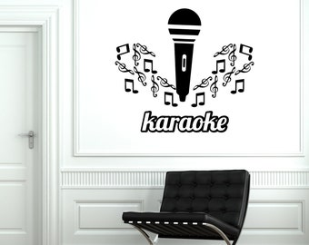 Wall Vinyl Decal Music Karaoke Microphone Notes Cool Vinyl Decor 1929di