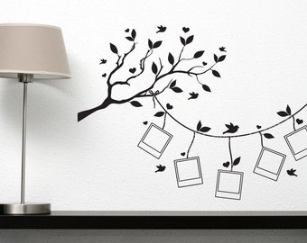 Wall Vinyl Decal Family Tree Square Shaped Picture Frames Tree Branch Birds Modern Home Decor (#2103dn)