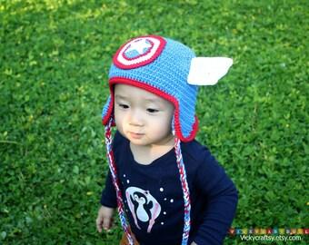 Crochet Captain America Hat, Baby Hat, Photo prop