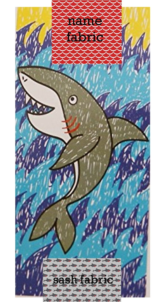 Personalized Name Shark Gray, Red and Turquoise Beach Towel with Fabric Bow, Summer, Birthday Gift
