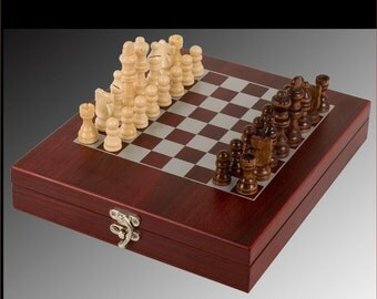 Chess Set, ENGRAVED,  Rosewood Portable Case