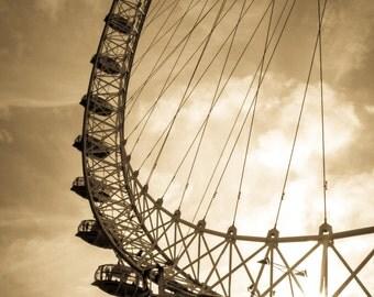 London Eye Print - London Print, London Sunset, Ferris Wheel, London Wall Art - London Photography Print
