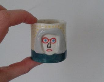 Ceramic Face Pot, Ceramic Pot, Bobbed Hair Pot, Grey Hair Pot,