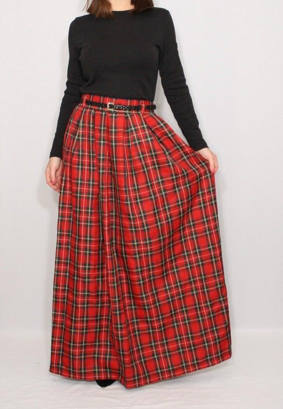 plaid skirt tartan skirt maxi skirt high by