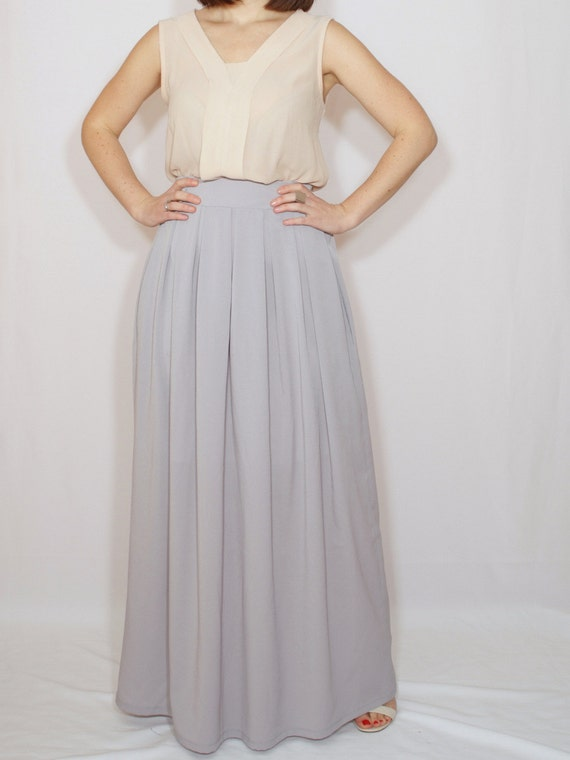 light grey skirt skirt chiffon maxi skirt high waisted