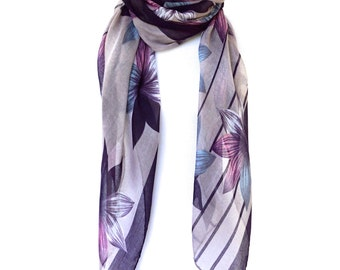 Floral Print Scarf, Purple Scarf, Womens Viscose Scarves, Fashion scarf, Boho Scarf, Bohemian Scarf Shawl, Women's Scarf, Gifts For Her