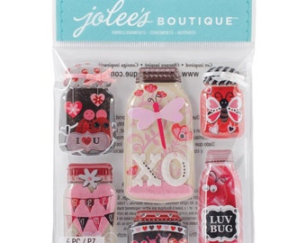 Jolee's Boutique Dimensional Stickers Lovebug Mason Jars, Valentine's Stickers