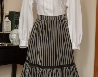 70s Black and Silver Witchy Dirndl Skirt with Frill Hem, Size M