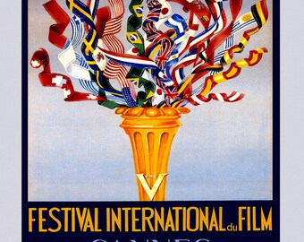 """Film 16"""" X 20""""  1952 Cannes International Festival Movie Cannes French Riviera France Vintage Poster Repro FREE S/H in USA"""