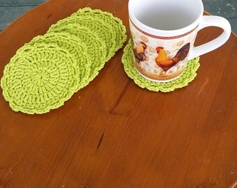 Crochet Coasters, Cup coasters, Set of 6, Cotton Coasters. Ready to ship!