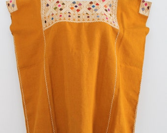Hand embroidered mustard Huipil made in Chiapas / mexican embroidered ethnic blouse / boho hippie folk huipil / blusa mexicana