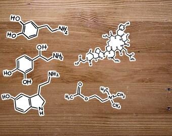 Neurotransmitter Hand Drawn Stickers - Dopamine, Serotonin, Oxytocin, Norepinephrine, Acetylcholine Molecule - Neuroscience, Neurology Gift