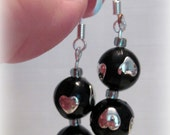 Valentine Earrings, Black & Silver Heart Dangles, Valentine Gift for Her, Heart Earrings