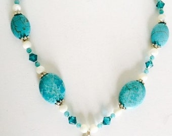 Tear Drop in Turquoise and Silver Pendant, Swarovski Crystals on Necklace