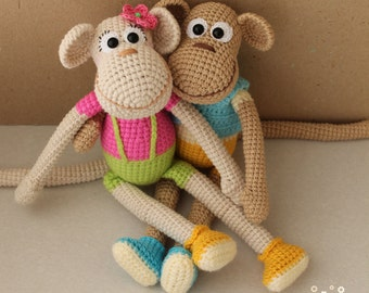 "Toy crochet pattern ""Funny monkey"" PDF"