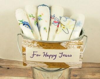 Vintage Handkerchiefs-Lot of 6 handkerchiefs-Hand Embroidered Vintage Handkerchiefs-Blue Handkerchiefs-Wedding Handkerchiefs