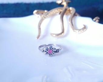 Pink Gem Daisy Ring
