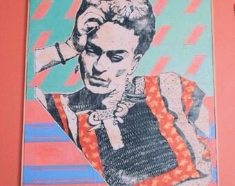 Frida with Fishes, Large Frida Kahlo Painting/Woodcut