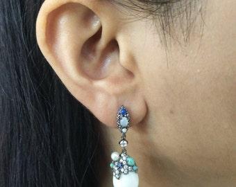 Vintage Modern 925 Sterling Silver White Agate Earring