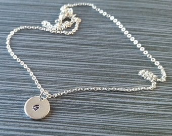 Silver Initial Necklace - Initial Disc Personalized Necklace - Custom Gift - Initial Necklace - Layering Necklace - Dainty Necklace