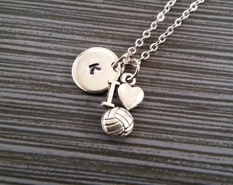 Silver Volleyball Necklace - I Love Volleyball Necklace - Personalized Necklace - Custom Gift - Volleyball Gift - Sports Necklace
