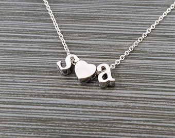 Silver Initial Necklace - Initial Heart Necklace - Personalized Necklace - Letter Necklace - Layering Necklace - Promise Necklace